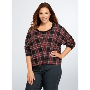 Torrid 100% Cotton Plaid Cropped Sweater